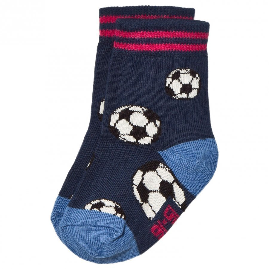 Melton Soccer Ball Baby Socks Navy Sukat