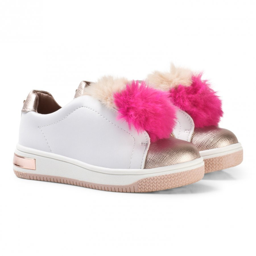 Michael Kors Pink Faux Fur Pom Pom Zia Tatum Slip On Trainers Lenkkarit