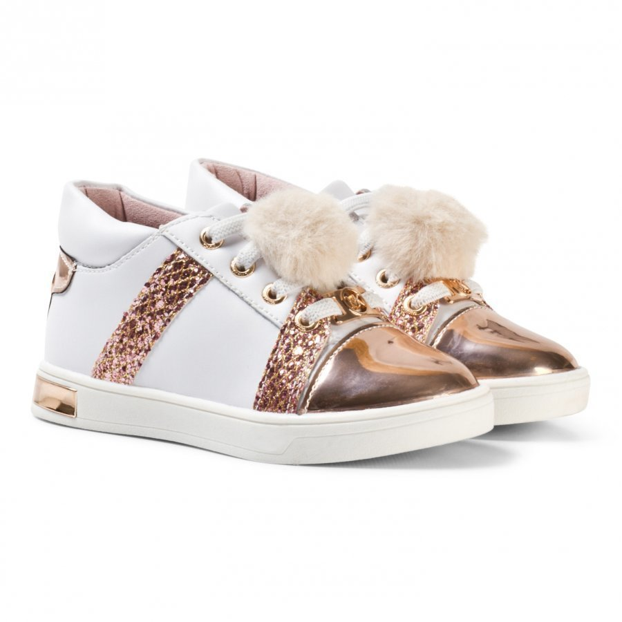 Michael Kors Rose Gold Pom Pom Zia Olly Raz-T Leather Trainers Lenkkarit
