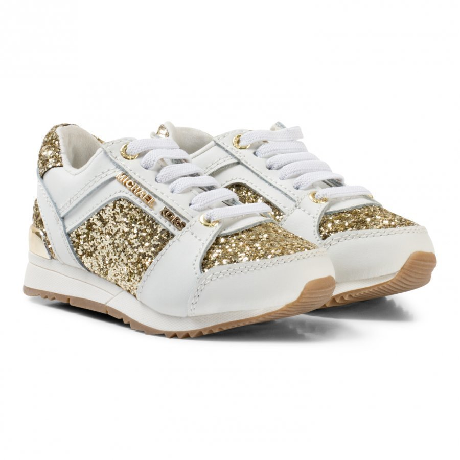 Michael Kors White And Gold Glitter Zia Allie Cali-T Laced Trainers Lenkkarit