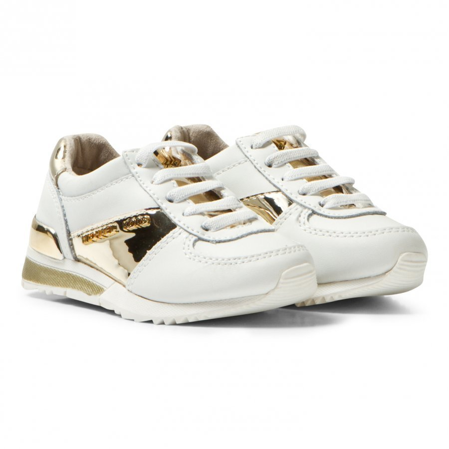 Michael Kors White And Gold Zia Allie Infants Elasticated Lace Trainers Lenkkarit