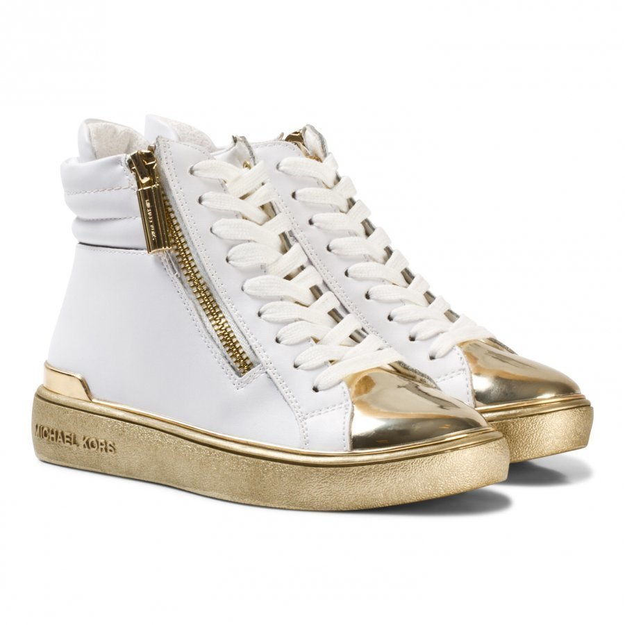 Michael Kors White And Gold Zia Ivy Blu Zip Hi Tops Korkeavartiset Kengät