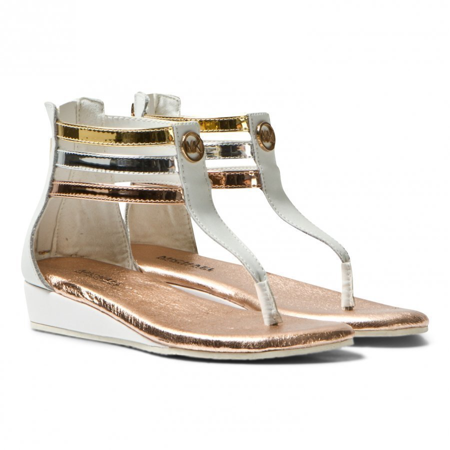 Michael Kors White And Metallic Zia Demi Darcie Wedge Sandals Remmisandaalit