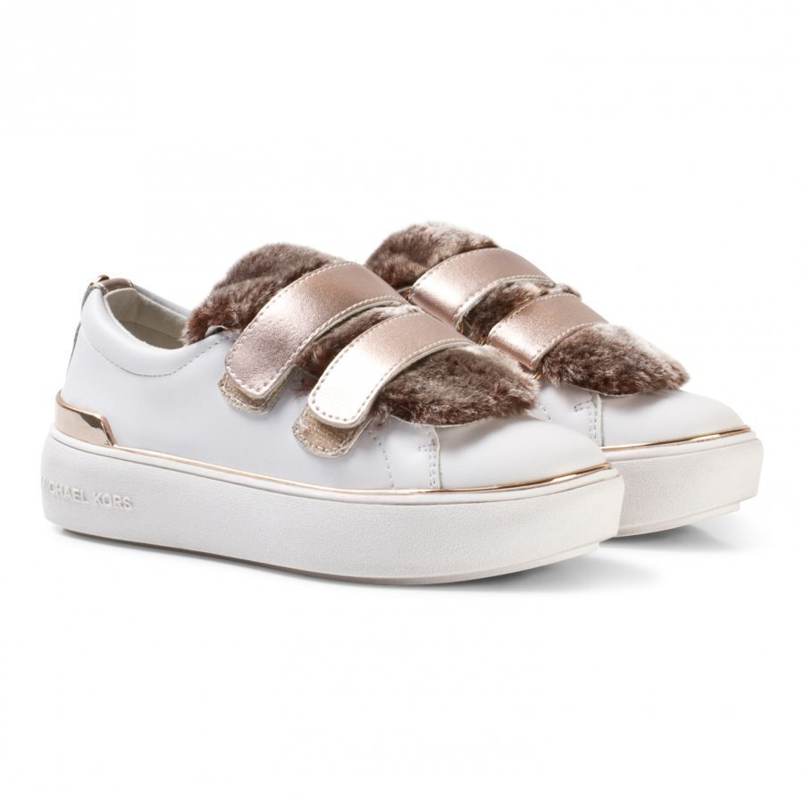 Michael Kors White And Mink Faux Fur Zia Maven Fima Velcro Trainers Lenkkarit