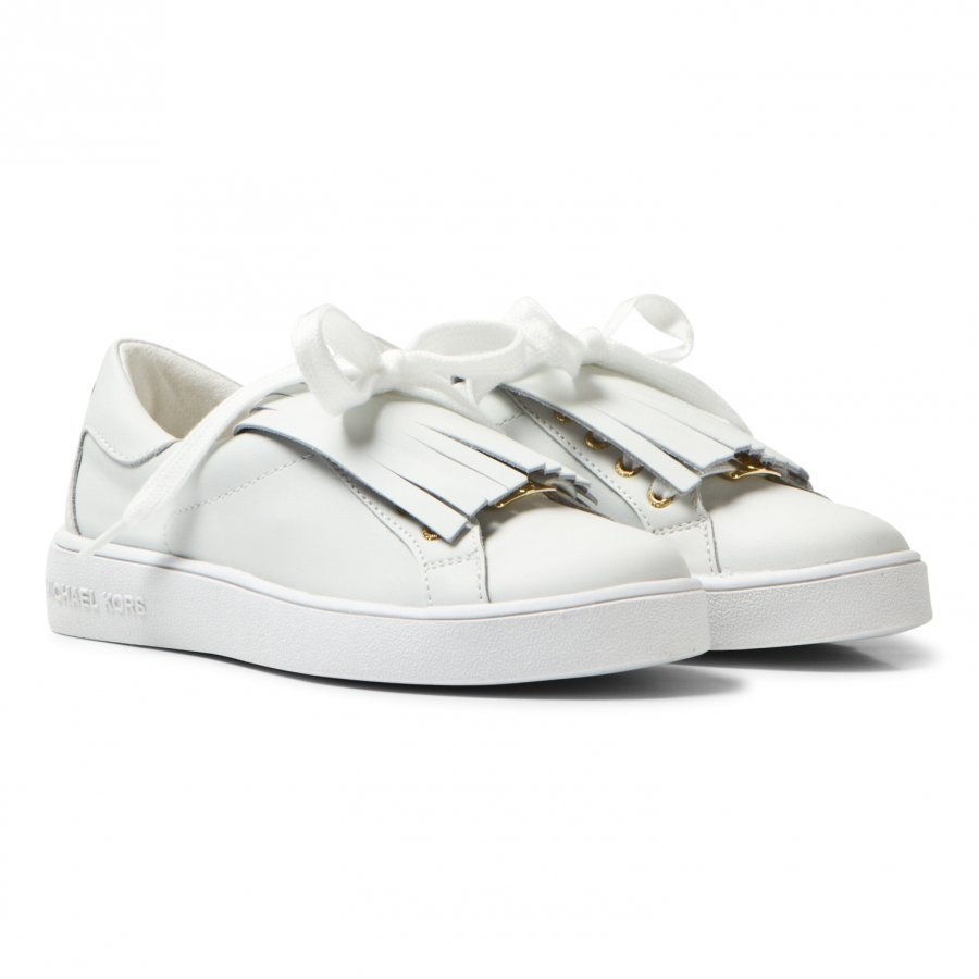 Michael Kors White Zia Ivy Kiltie Leather Fringe Trainers Lenkkarit
