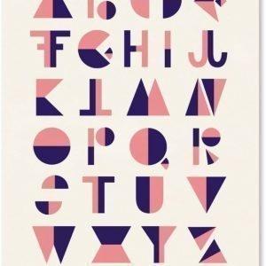 Michelle Carlslund Juliste Flip Alphabet 50 x 70 cm Vaaleanpunainen