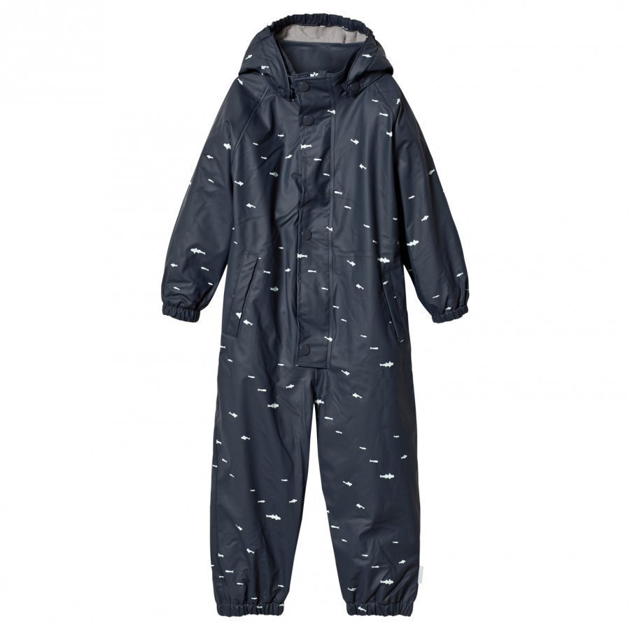 Mini A Ture The Reinis Lined Rain Suit M Ombre Blue Print Sadehaalari