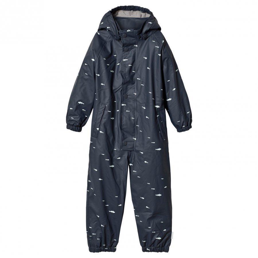 Mini A Ture The Reinis Lined Rain Suit M Ombre Blue Print Sadehaalari