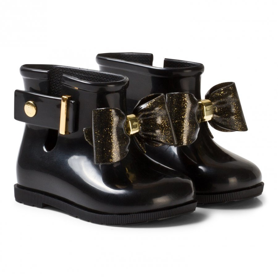 Mini Melissa Sugar Rain Bow Rain Boots Black And Gold Glitter Bow Kumisaappaat
