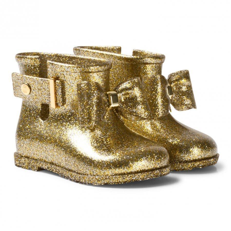 Mini Melissa Sugar Rain Bow Rain Boots Gold Glitter Bow Kumisaappaat