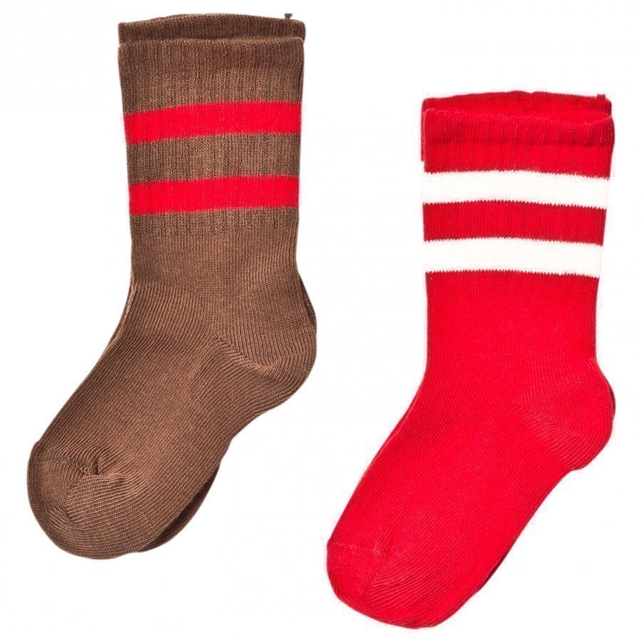 Mini Rodini 2 Pack Stripe Sock Brown/Red Sukat