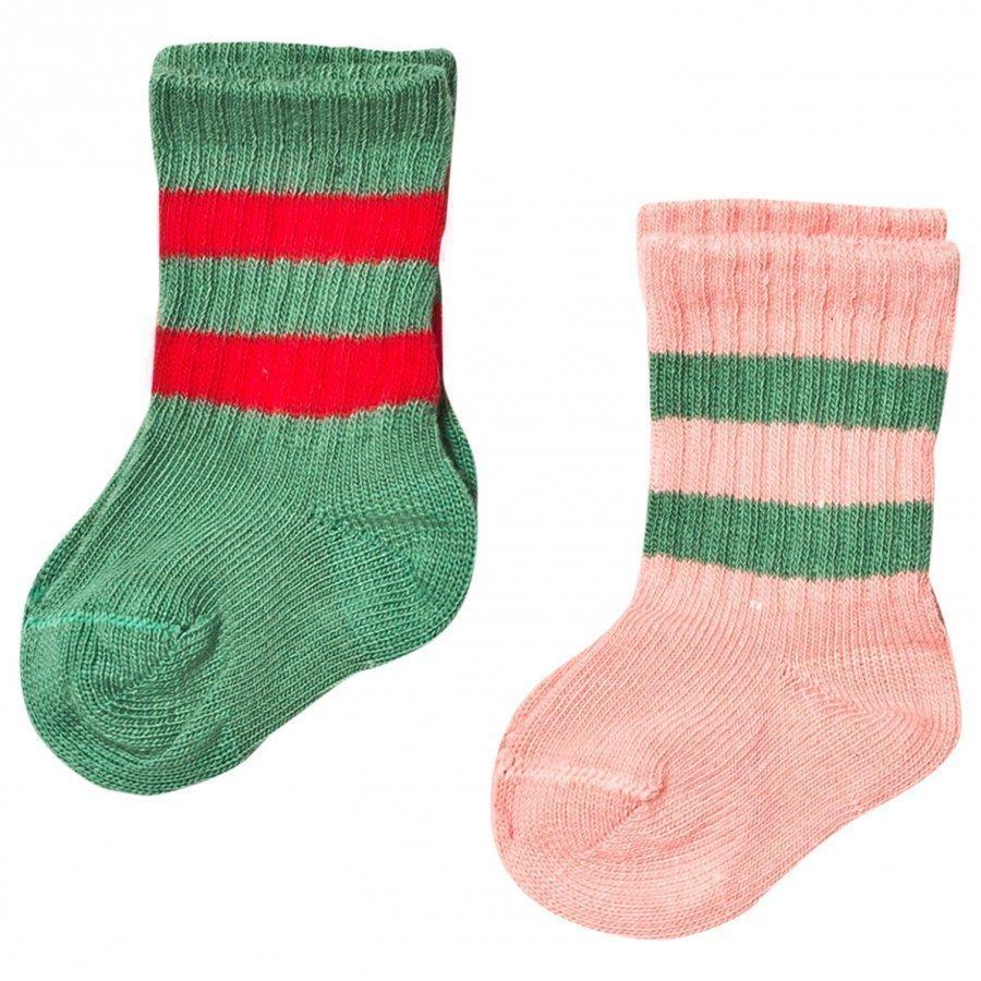 Mini Rodini 2 Pack Stripe Sock Pink/Green Sukat