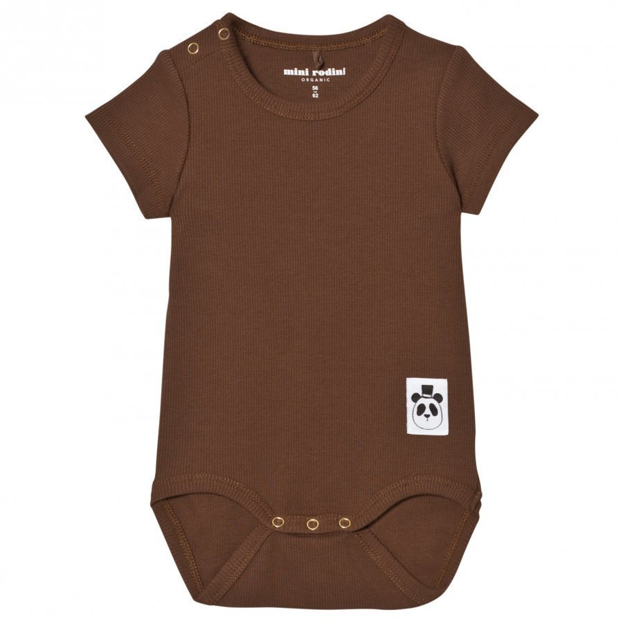 Mini Rodini Baby Body Rib Brown Romper Puku