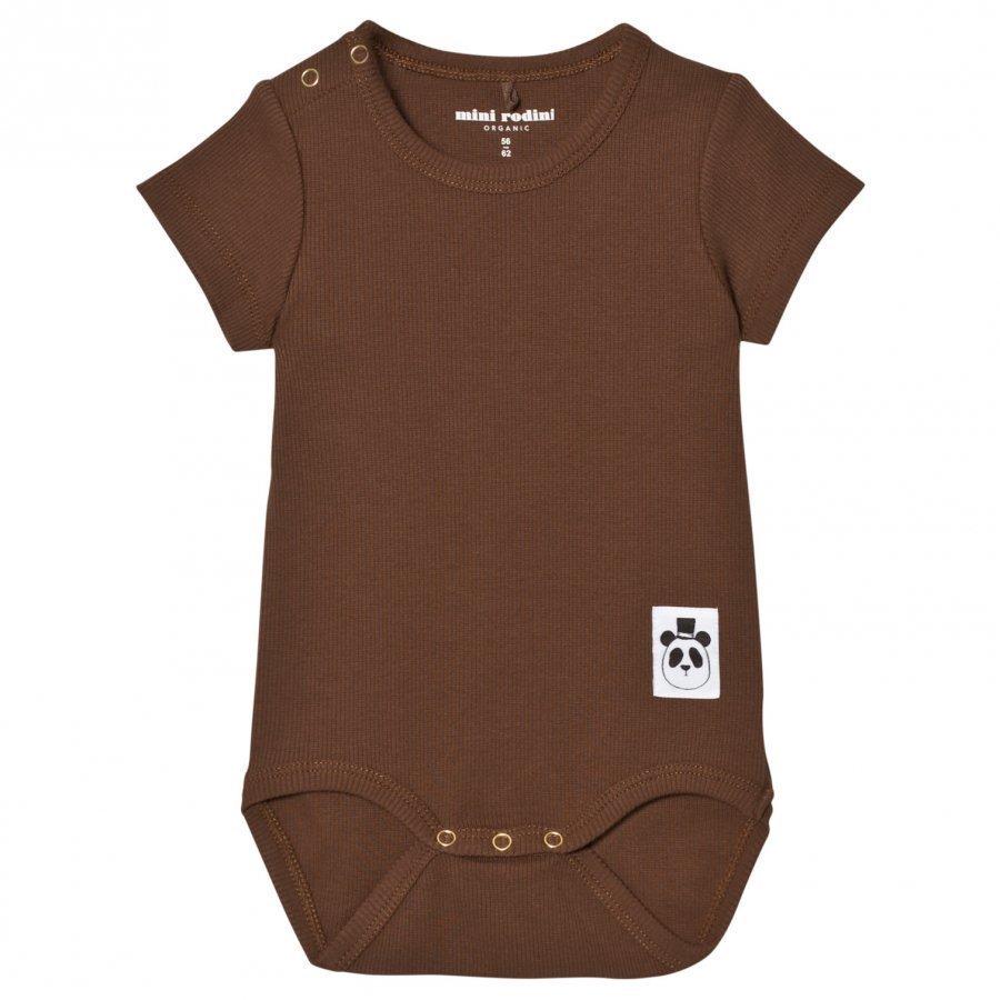 Mini Rodini Baby Body Rib Brown Romper Puku