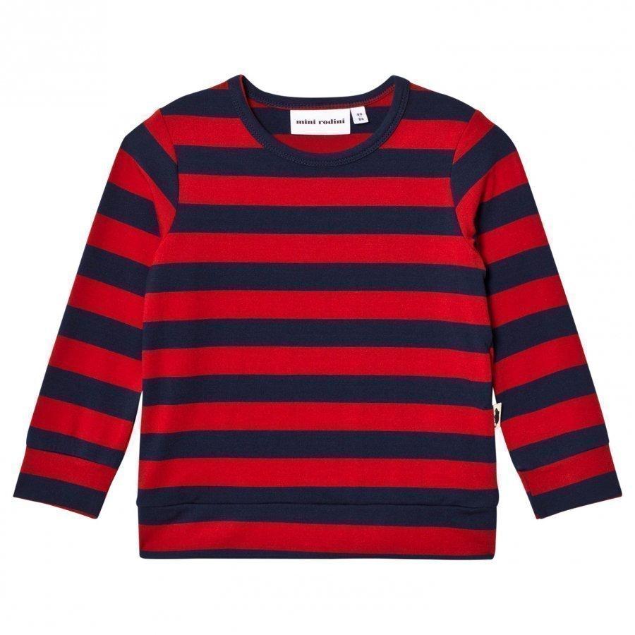 Mini Rodini Blockstripe Long Sleeve Tee Red Pitkähihainen T-Paita