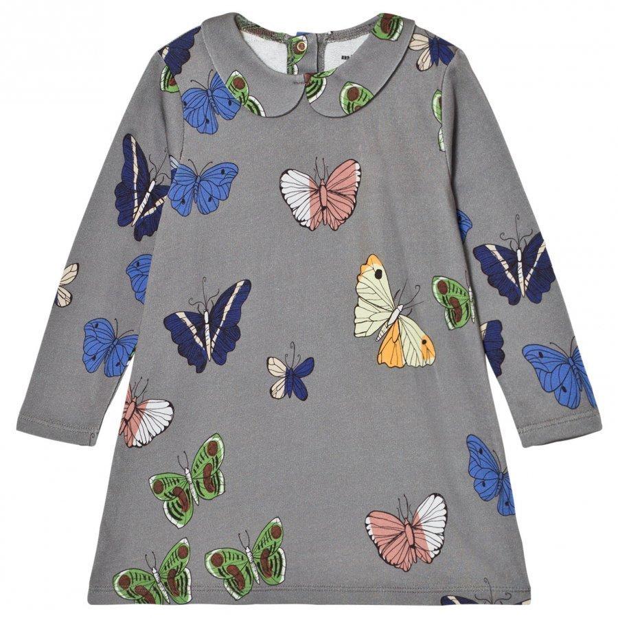 Mini Rodini Butterflies Collar Dress Dark Grey Mekko