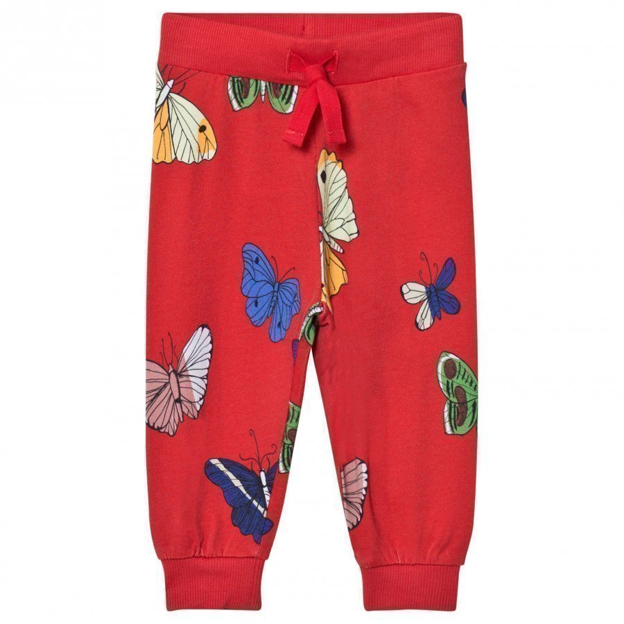 Mini Rodini Butterflies Sweatpants Red Verryttelyhousut