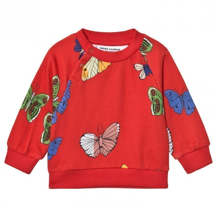 Mini Rodini Butterflies Sweatshirt Red Oloasun Paita