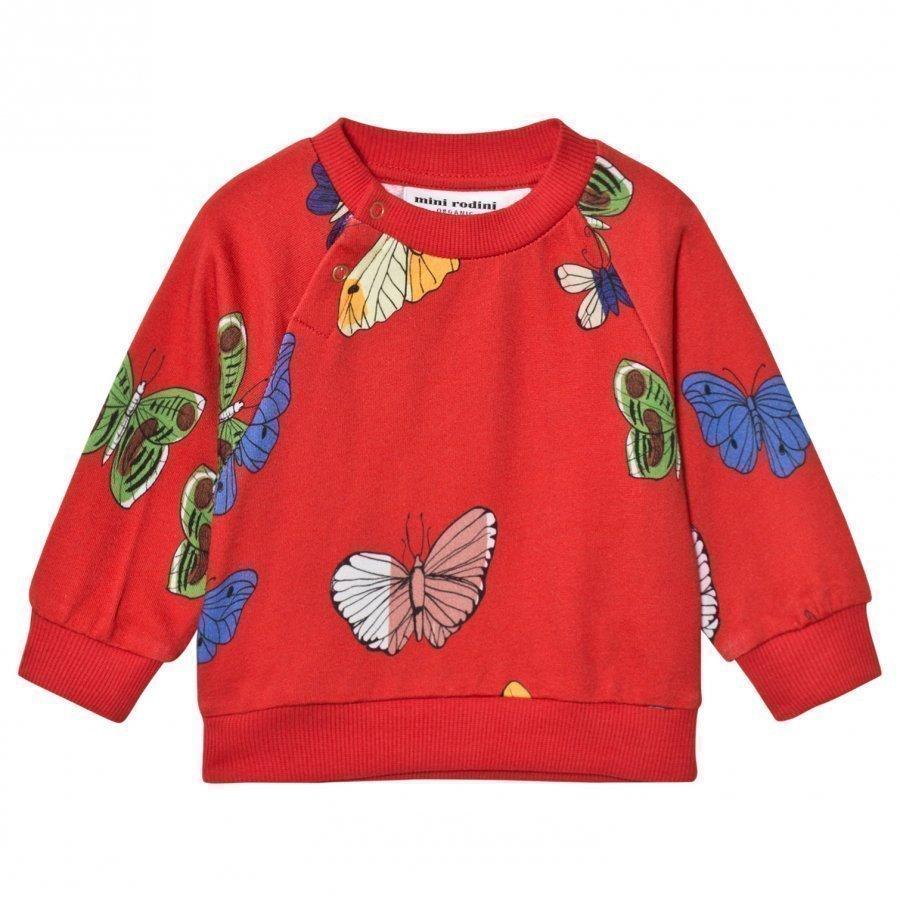 Mini Rodini Butterflies Sweatshirt Red Oloasun Paita