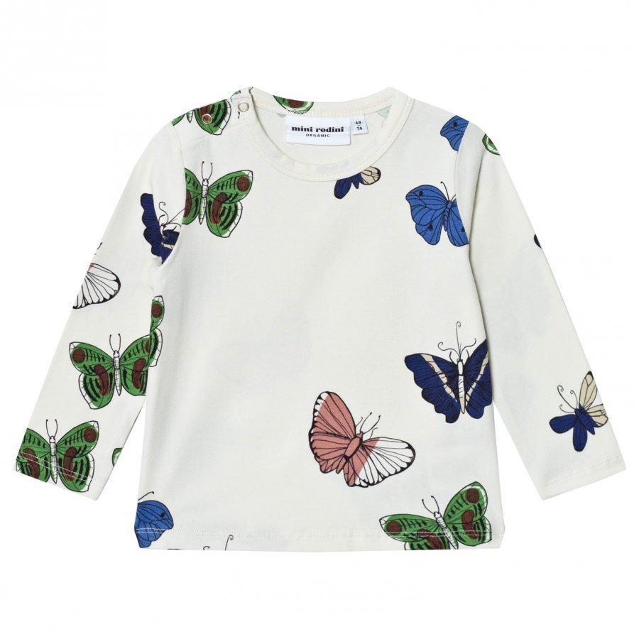 Mini Rodini Butterflies Tee Off White Pitkähihainen T-Paita