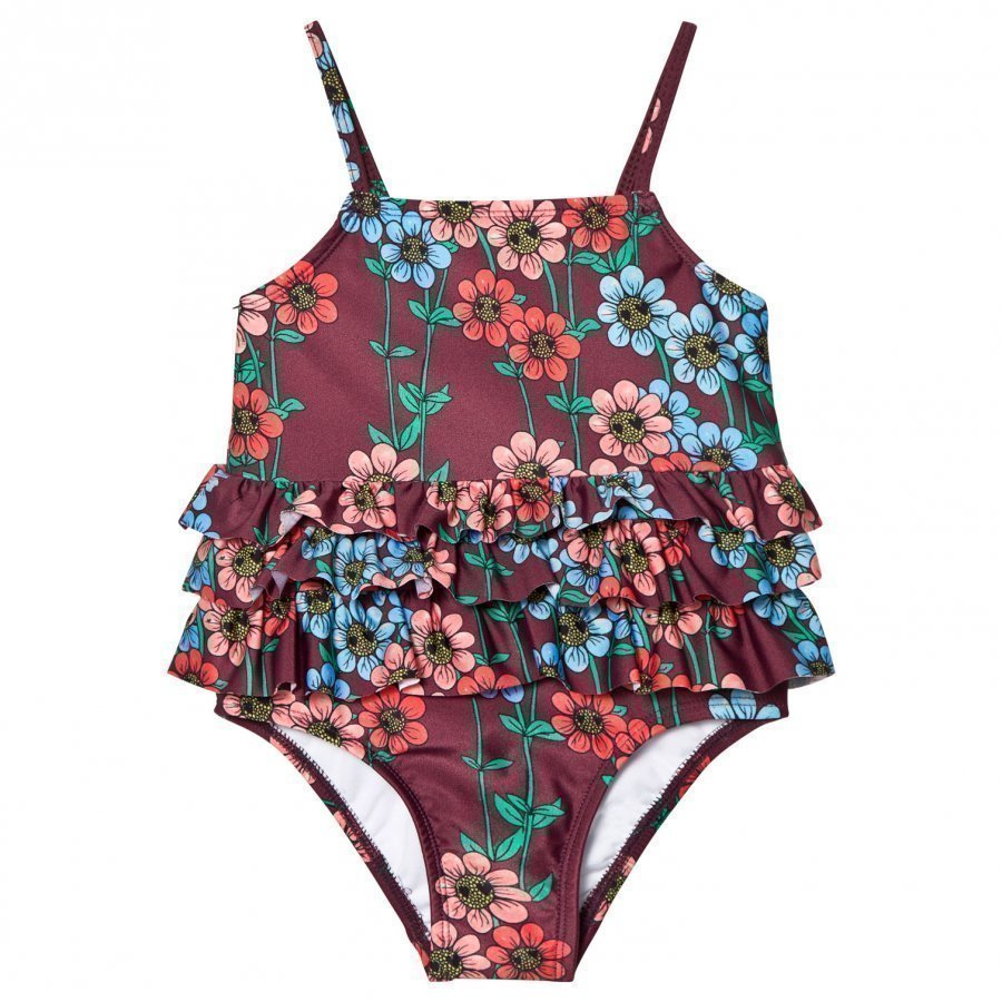 Mini Rodini Daisy Frill Swimsuit Burgundy Uimapuku