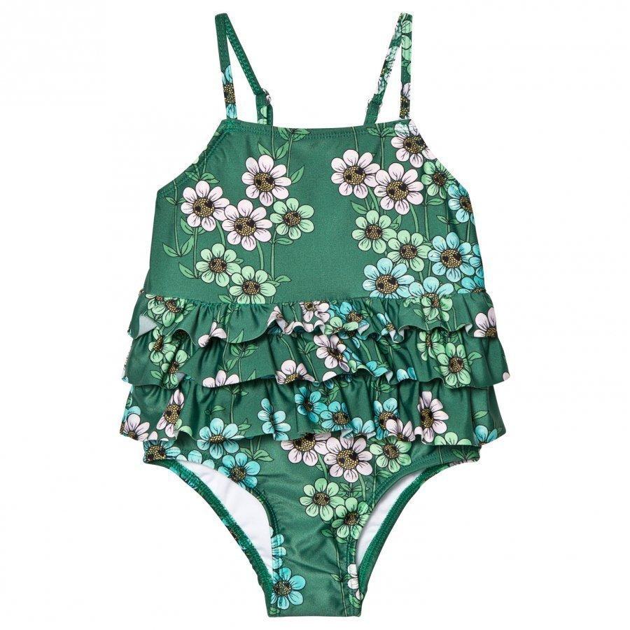 Mini Rodini Daisy Frill Swimsuit Dark Green Uimapuku