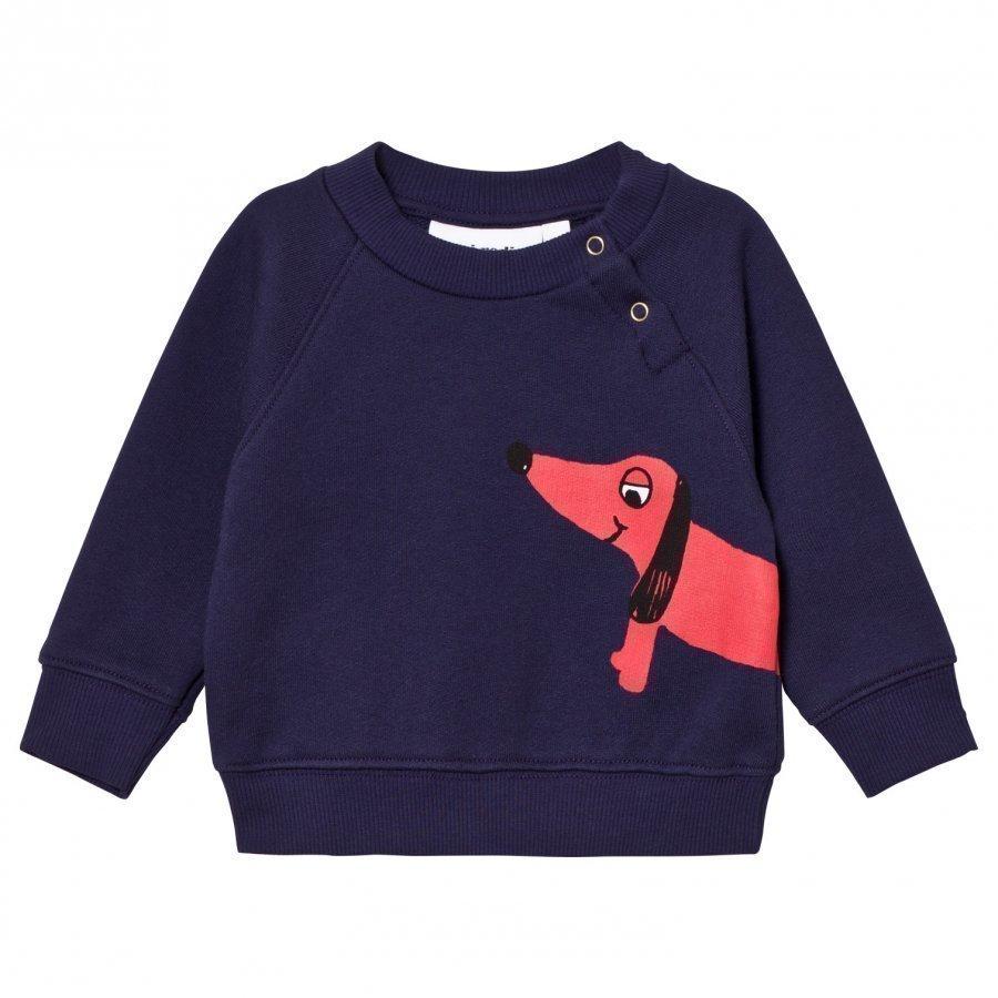 Mini Rodini Dog Sweatshirt Navy Oloasun Paita