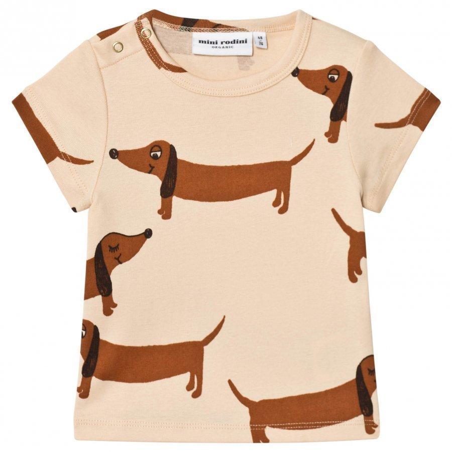 Mini Rodini Dog Tee Beige T-Paita