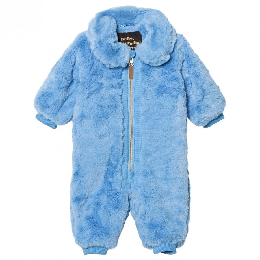 Mini Rodini Faux Fur Baby Coverall Light Blue Toppahaalari