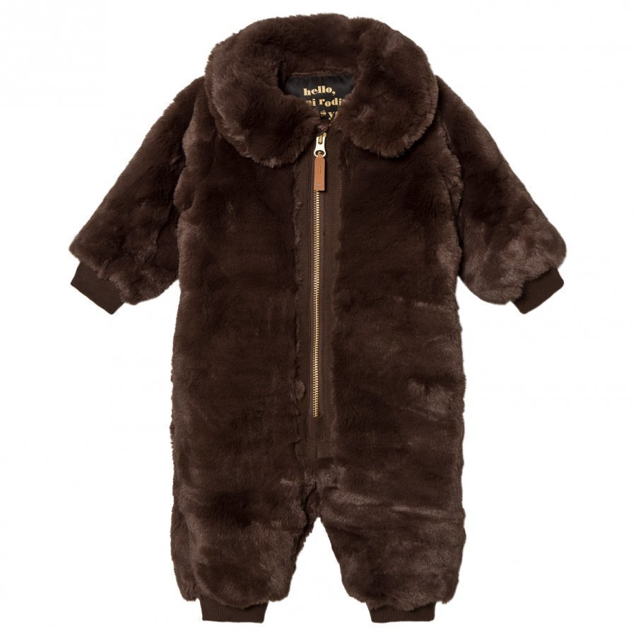 Mini Rodini Faux Fur Baby Overall Brown Toppahaalari