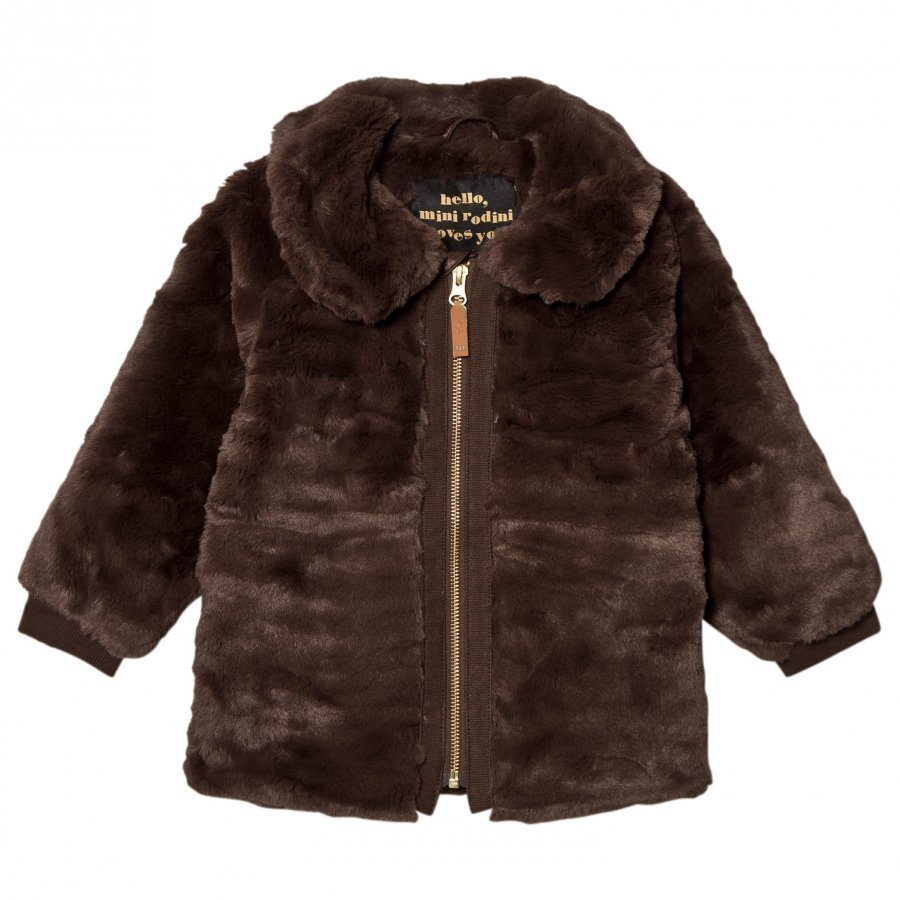 Mini Rodini Faux Fur Jacket Brown Turkis