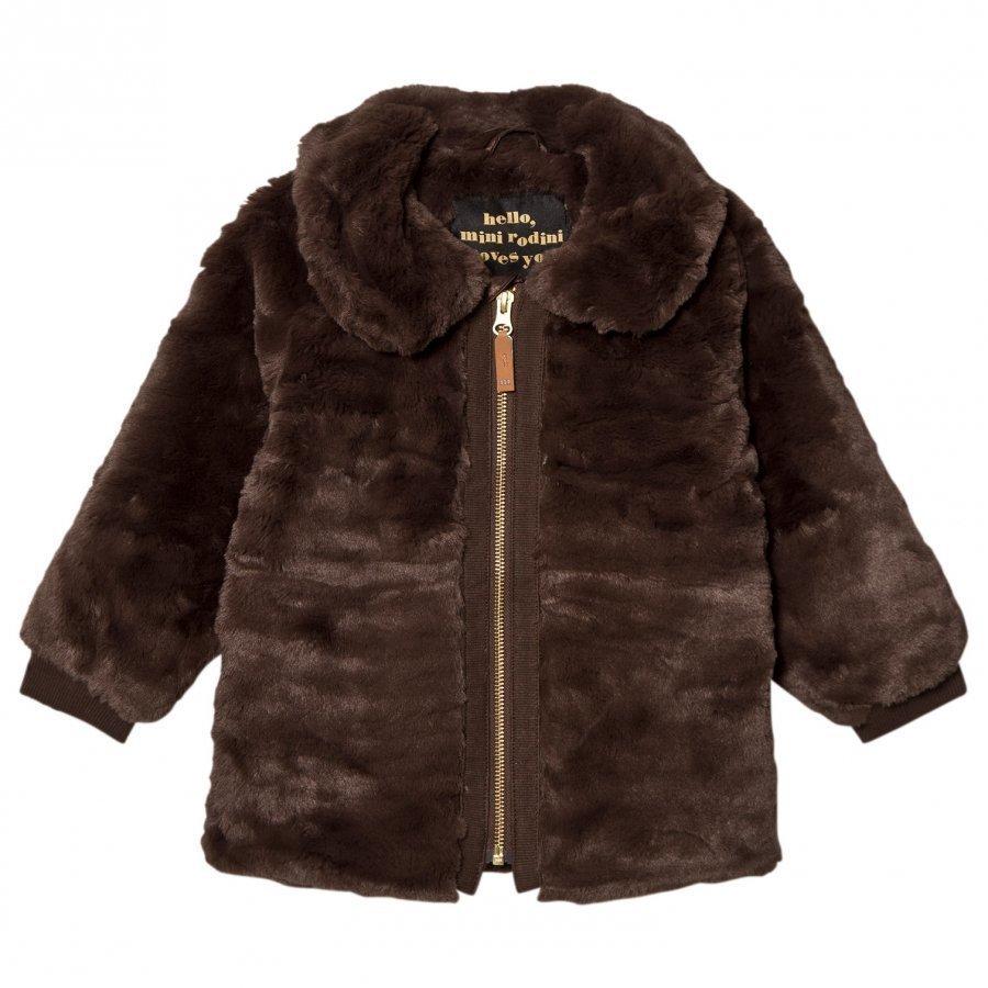 Mini Rodini Faux Fur Jacket Brown Turkis