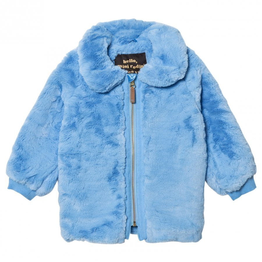 Mini Rodini Faux Fur Jacket Light Blue Turkis