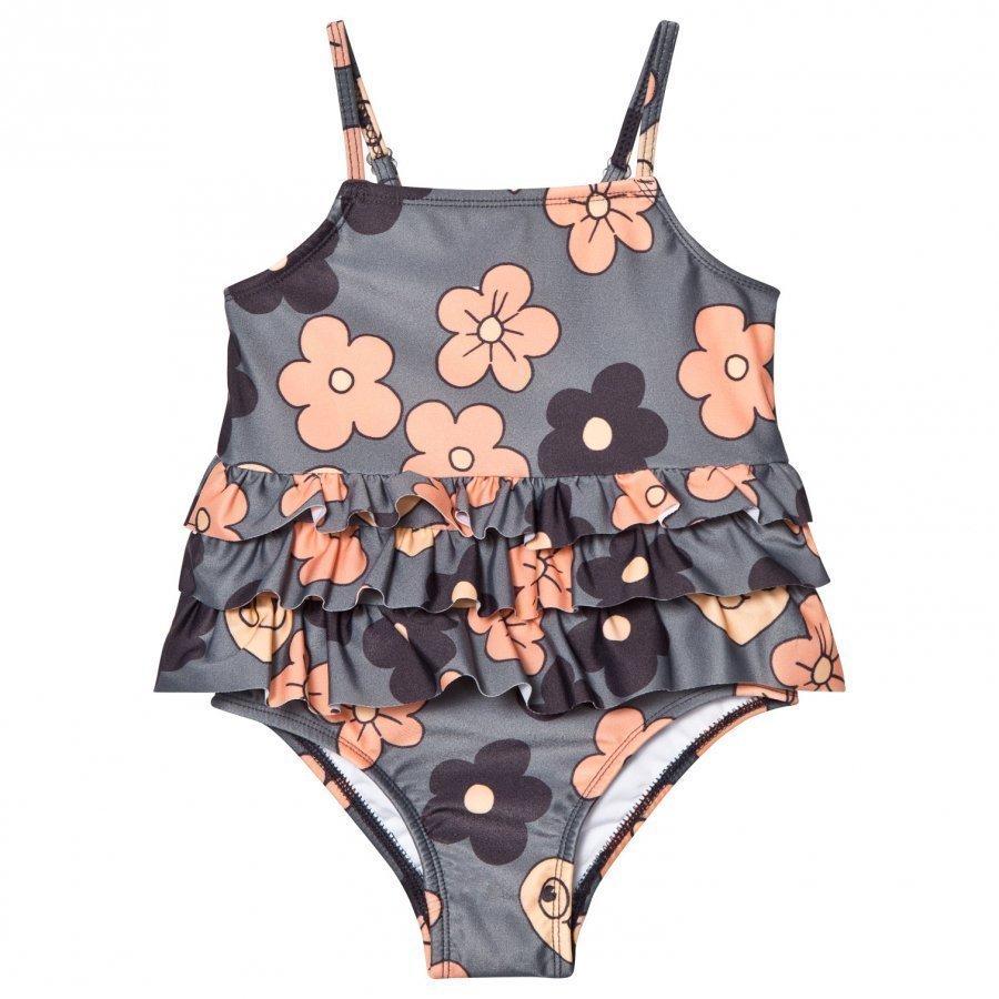 Mini Rodini Flower Frill Swimsuit Grey Uimapuku