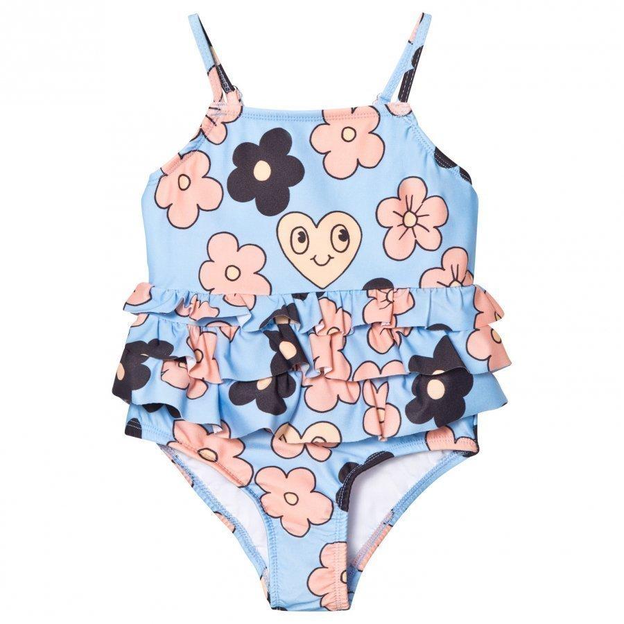 Mini Rodini Flower Frill Swimsuit Light Blue Uimapuku