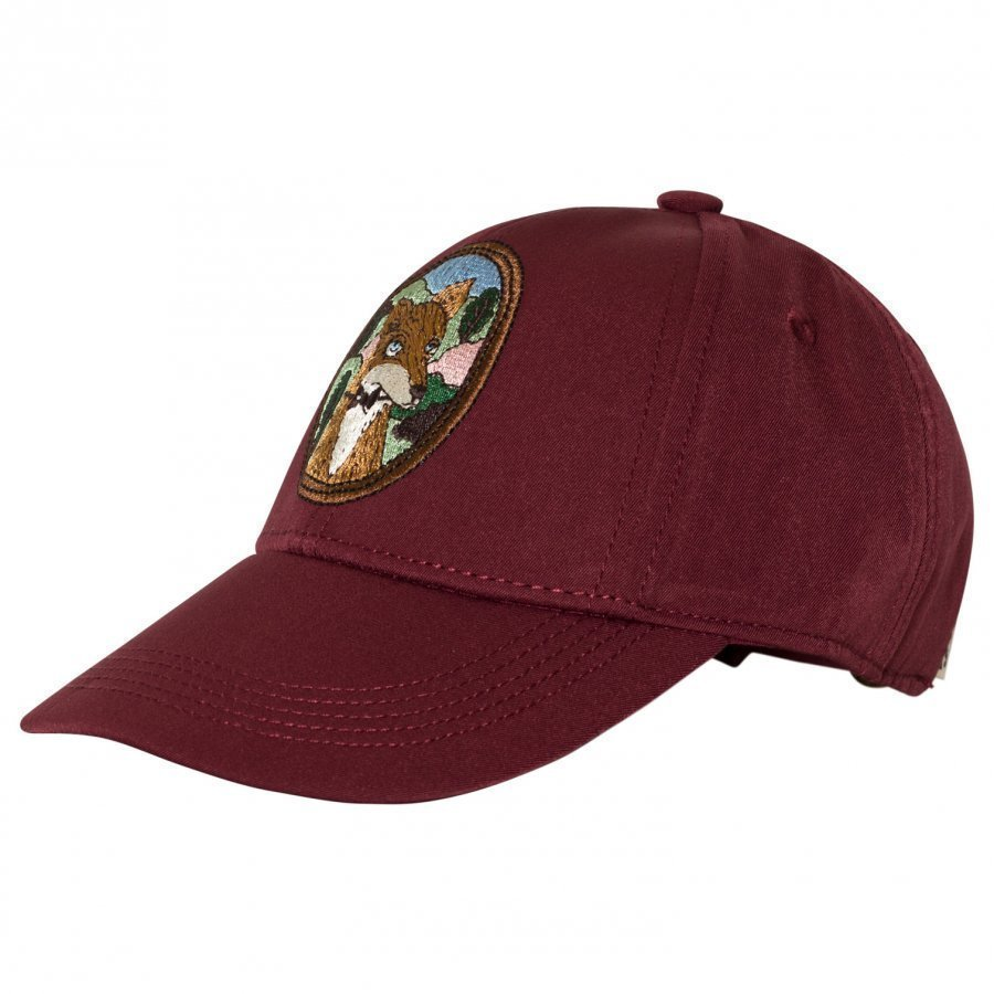 Mini Rodini Fox Embroidered Cap Burgundy Lippis
