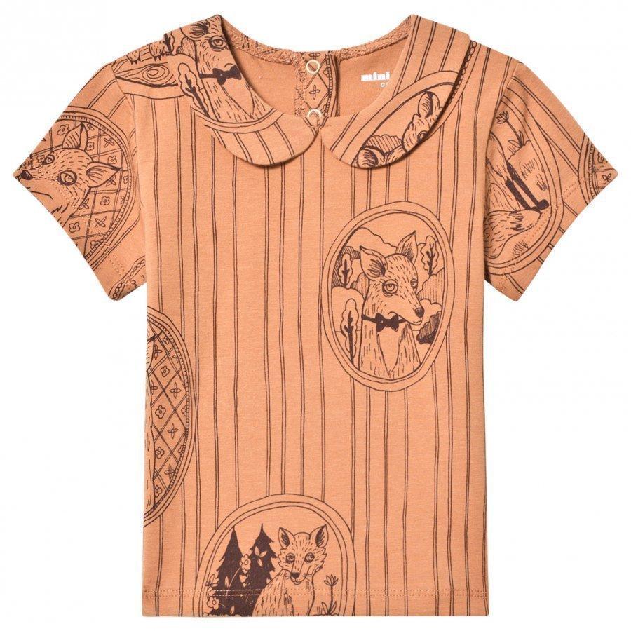 Mini Rodini Fox Family Collar Tee Brown T-Paita