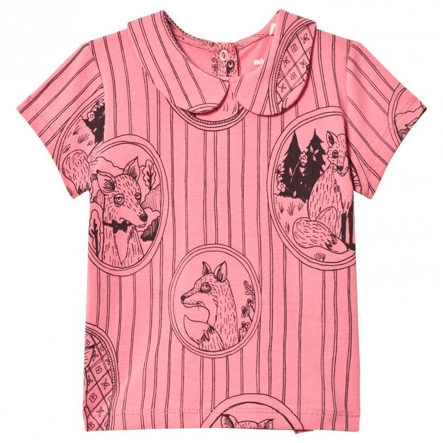 Mini Rodini Fox Family Collar Tee Pink T-Paita