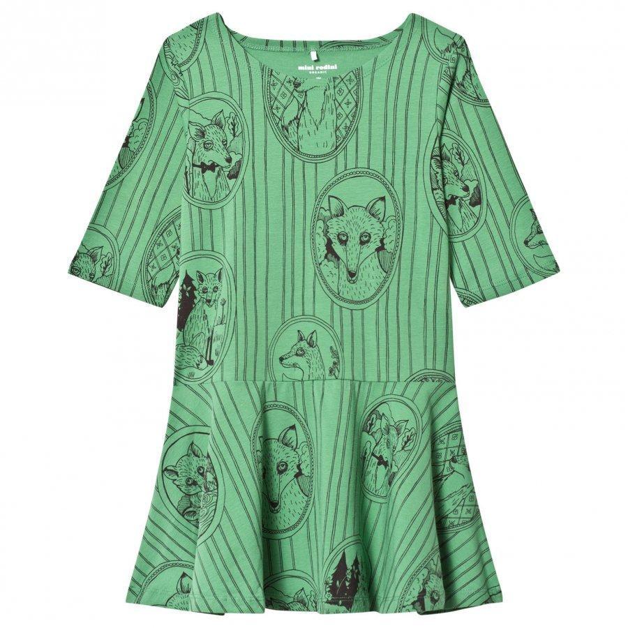 Mini Rodini Fox Family Dress Green Mekko