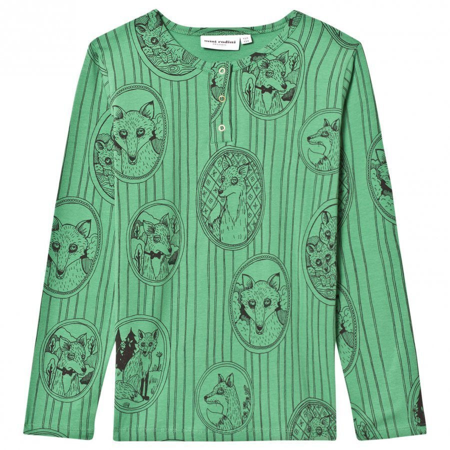 Mini Rodini Fox Family Grandpa Tee Green Pitkähihainen T-Paita