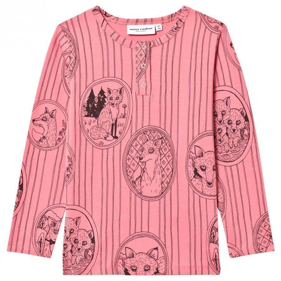 Mini Rodini Fox Family Grandpa Tee Pink Pitkähihainen T-Paita