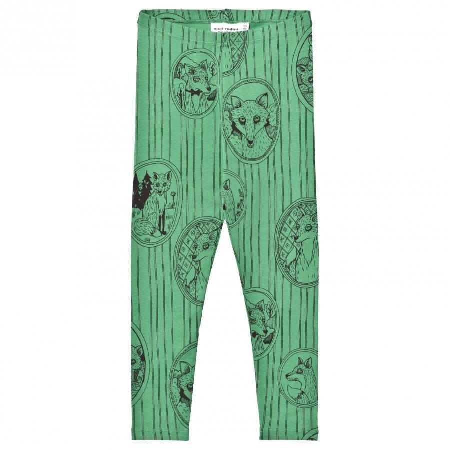 Mini Rodini Fox Family Leggings Green Legginsit