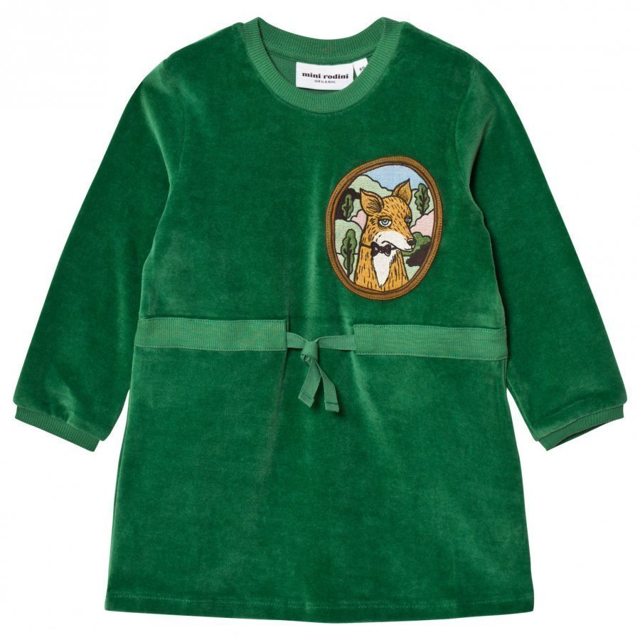 Mini Rodini Fox Velour Dress Green Mekko