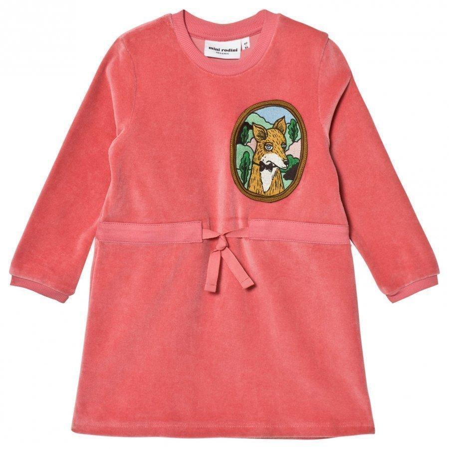 Mini Rodini Fox Velour Dress Pink Mekko