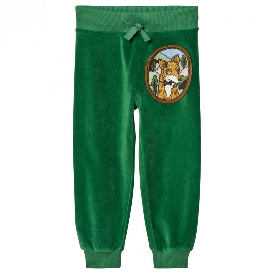 Mini Rodini Fox Velour Sweatpants Green Verryttelyhousut