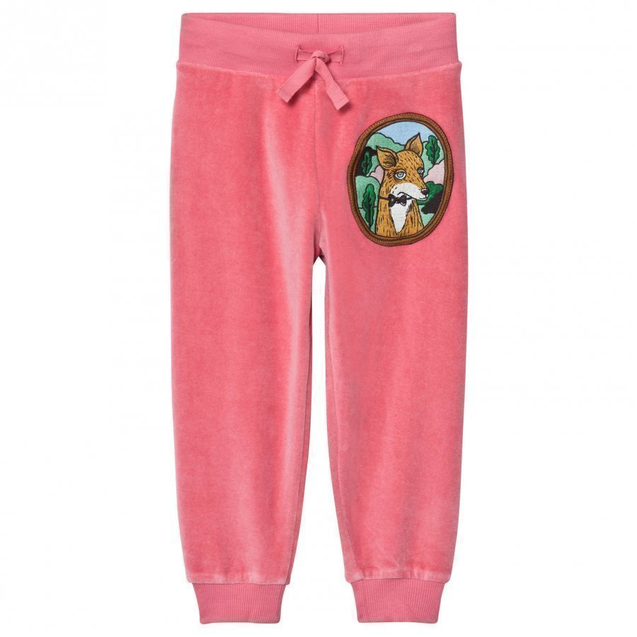 Mini Rodini Fox Velour Sweatpants Pink Verryttelyhousut