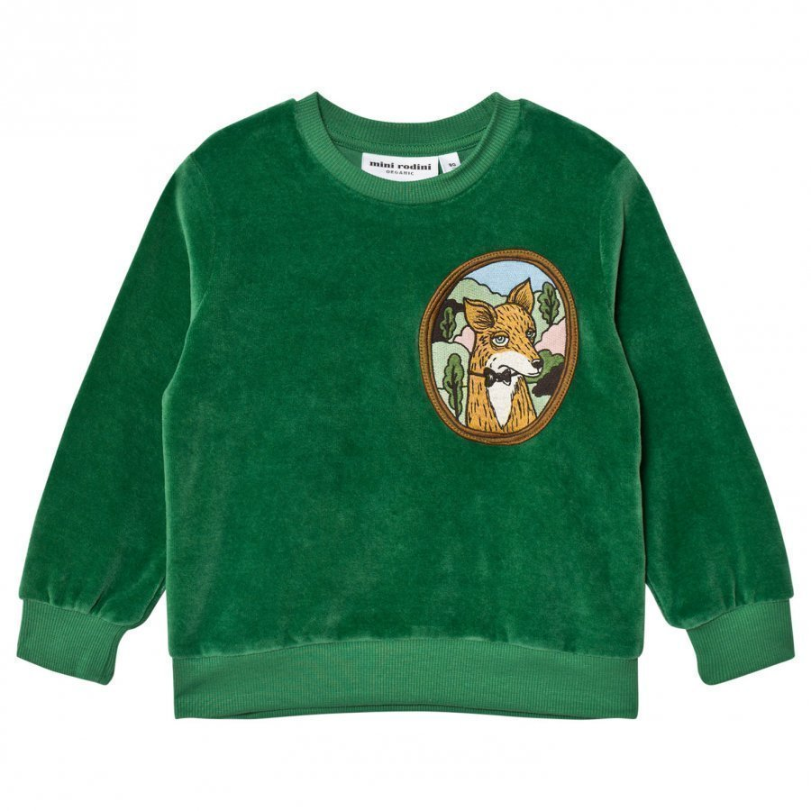 Mini Rodini Fox Velour Sweatshirt Green Oloasun Paita