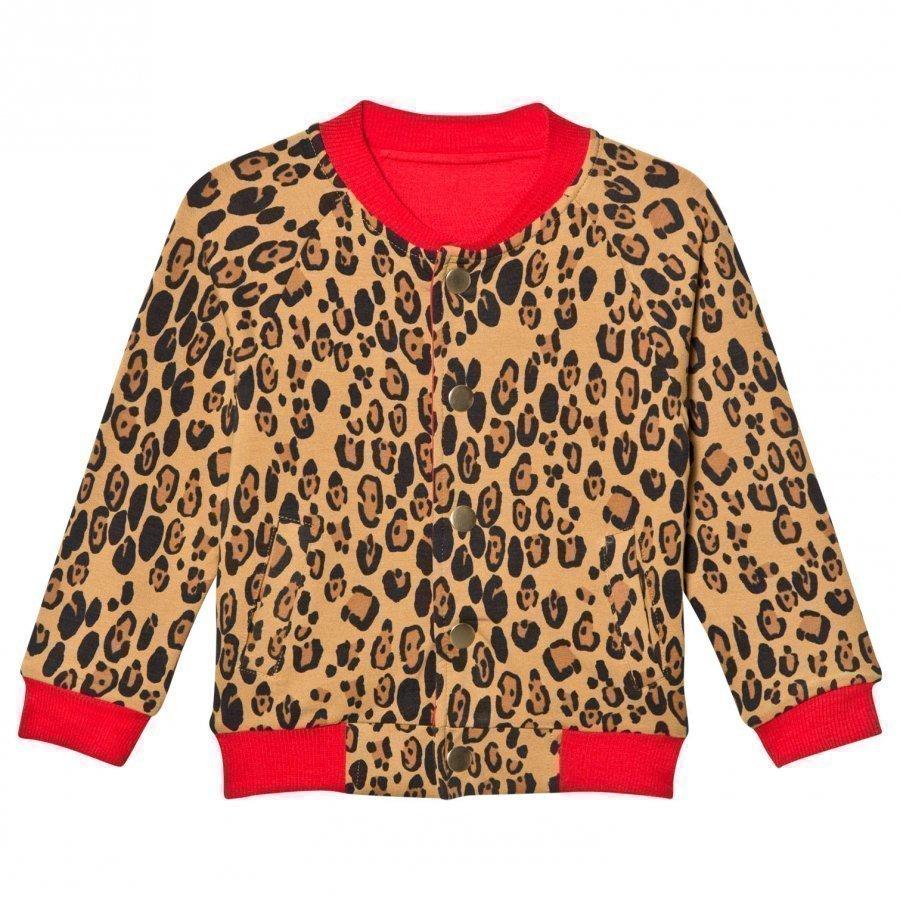 Mini Rodini Leopard Reversible Sweat Jacket Beige Neuletakki