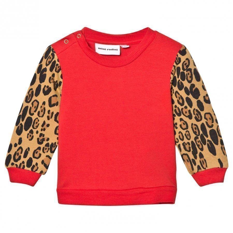 Mini Rodini Leopard Sweatshirt Red Oloasun Paita