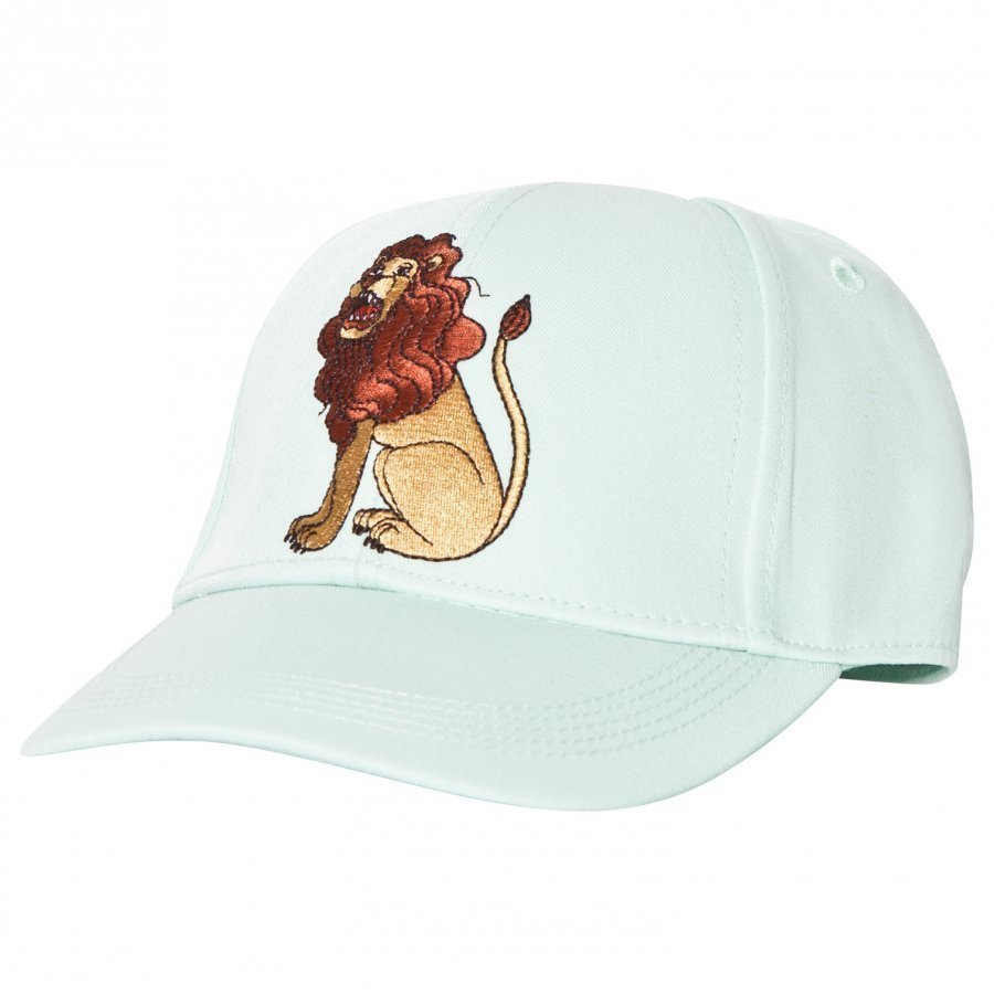 Mini Rodini Lion Embroidered Cap Light Green Lippis